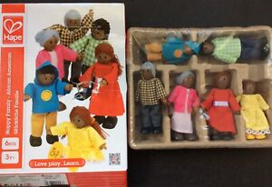 Hape Happy Family AFRICAN AMERICAN FAMILY DOLL HOUSE PEOPLE New 6 Pcs.