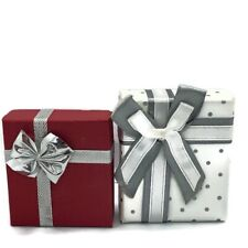 Jewellery Gift Boxes - Earrings Necklace Foam Pad Red White Silver 2 Small Boxes