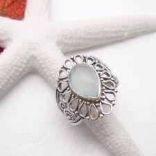 Chalcedon blau grün nostalgisch Design Ring, Ø 18,75 mm, 925 Sterling Silber neu