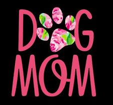 Dog Mom Decal with Pink Floral Decorative Paw Print - Window Decal