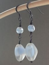 Vintage Powder Blue Frosted Givre Glass Oxidized Sterling Silver Drop Earrings