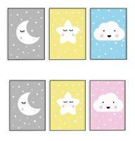 SET of 3 Prints Nursery Baby  Moon Cloud Star Wall Art for Kids Room Boy Girl A4