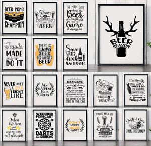 Funny Man Cave & Home Bar Pub Decor Quote Posters & Prints - Wall Art