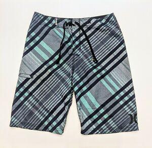 Hurley Phantom Men's Diagonal Plaid Boardshorts Blue Black Size 30 Swim Trunks