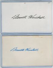 (2) NEWT KIMBALL INDEX CARD SIGNED 1937-43 CUBS CARDS DODGERS PSA/DNA 1915-2001