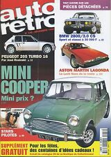AUTO RETRO n°216 DECEMBRE 1998 MINI COOPER 205 TURBO 16 LAGONDA BMW 2800/3.0 CS