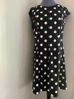 AB Studio Women's Black White Polka Dot Sheath Dress Size 14 Pleated Cap Sleeves