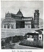 Pisa: Duomo e Torre Pendente. Toscana. Stampa Antica + Passepartout. 1896