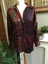 ZARA Patchwork Oversized Shirt Blouse Silky Feel Medium 10/12 Used