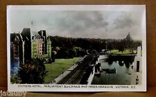 Postcard EMPRESS HOTEL PARLIAMENT BUILDINGS INNER HARBOUR VICTORIA BC car photo