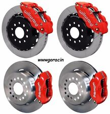 "WILWOOD DISC BRAKE KIT,2005-2014 FORD MUSTANG,13""/12"" ROTORS,RED CALIPERS,Lines"