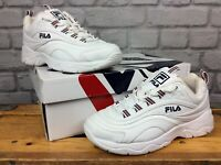 FILA LADIES UK 4 EU 37 1/2 RAY WHITE NAVY RED CHUNKY SOLE TRAINERS