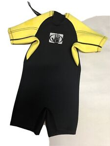 Body Glove Child's Black Yellow Spring Shorty Wetsuit Size C1 Great Shape