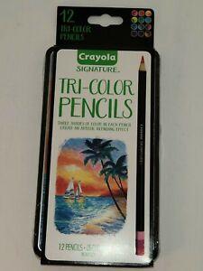 NEW Crayola Tri-Color 12 ct Colored Pencils Decorative Tin