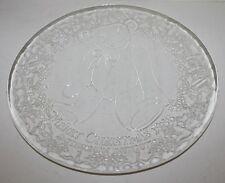 """Vtg Smithsonian Holiday Serving Plate """"Teddy Bear"""" - Clear Glass - 13""""- 1986-Euc"""