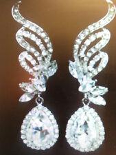 3/4''L Pierced Earrings- Rhodium Plated New Austrian Crystal Clear Chandelier 2