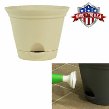 Latte Quartz Self Watering Plastic Planters Flare Flower Pot 7, 10 and 12 Inch