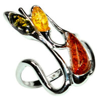 4.4g Authentic Baltic Amber 925 Sterling Silver Ring Jewelry N-A7235