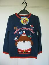CHILDS HEY DUGGEE CHRISTMAS DESIGN CHARACTER NAVY JUMPER SIZE 3-4YRS NEW BNWT GI