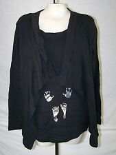 Introspect Maternity Black Long Sleeve 2Fer 100% Cotton Knit Top Large 10 12