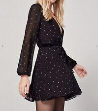 NWOT Reformation $198 Laughlin Moon Print Wrap Dress Sz Small Black