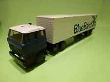 LION CAR 58 36 DAF 2800 TRUCK + TRAILER - BLUE BAND - 1:50 - GOOD CONDITION