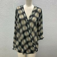Pleione Faux Wrap Top Blouse Women's L Green Tan Semi Sheer Long Roll Tab Sleeve