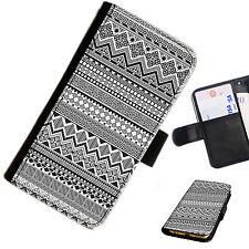 azt03- Azteca Impreso Cartera De Cuero / Funda libro para teléfono móvil