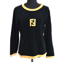 FENDI Vintage Logos Long Sleeve Tops Brown Black Italy Authentic AK40145