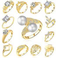 18 k Yellow Gold Filled White Zircon Fashion Wedding Jewelry Rings Size 6-8