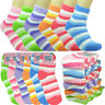 3-10 Pairs Women Ankle Soft Cozy Fuzzy Warm Home Striped Slipper Socks Size 9-11