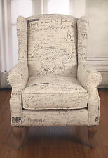 Ex-Display Wingback Chair French Script Linen Oak French Provincial Arm Chair