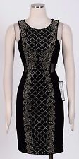 XSCAPE Black Gold Sz 12 Women's Cocktail Beaded Stretch Dress $199 New