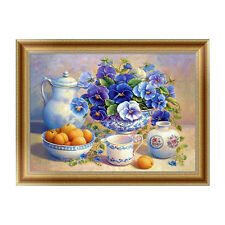 DIY 5d Diamond Embroidery Painting Blue Flowers Cross Stitch Craft Home Decor