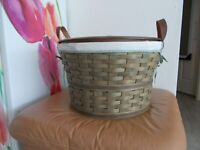 Longaberger 2005 LARGE Bushel COMBO Basket, Protector, Liner & Solid Maple Lid