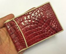 Genuine Crocodile Wallets Alligator Skin Leather Bifold Men's Red Money Clip