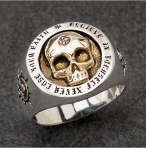 New Unisex Retro Arrogant Skull Hip Hop Skull Punk Rock Male Plated Silver Ring