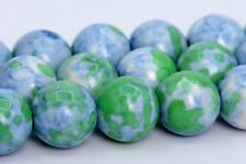 10MM Blue & Green Rain Flower Jade Beads Grade AAA Round Loose Beads 15.5""