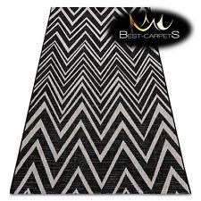 MODERN SISAL RUG FLOORLUX Zigzag black silver beige hard-wearing Easy to clean