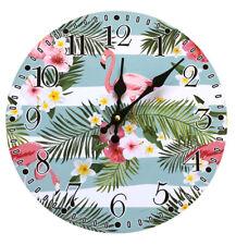 Flamingo Wanduhr Hawaii Tropisch Analog Küchenuhr Wohnzimmer Zimmer Uhr Sommer