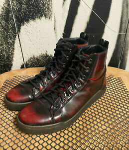 MENS VINTAGE DIESEL BLACK/CHERRY LEATHER HIGH TOP FASHION SNEAKERS-SZ 9/EURO 42