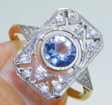 ART DECO STYLE AQUAMARINE GOLD ON SOLID SILVER CLUSTER RING - size O 1/2
