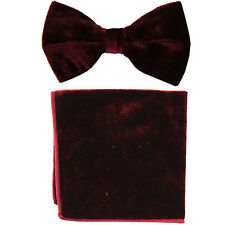 New formal Men's polyester pre-tied bow tie_hankie Burgundy velvet wedding