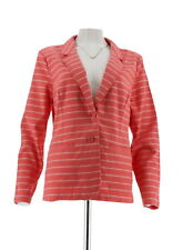 fe28afee6f7 Liz Claiborne NY Striped Blazer Pockets Button Deep Sea Coral 18w A253222
