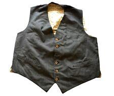 "Men's Vintage Grey Waistcoat Retro Medium 38"" Chest"