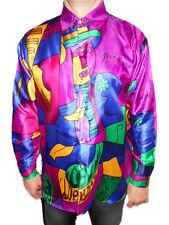 Men PICASSO Painted Vtg Casual Gloss Print Art Deco Silky Satin Shirt sz L X4