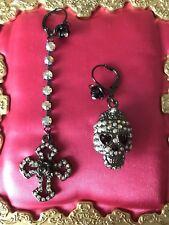 Betsey Johnson Vintage Princess Skull Cross Rose Crystal AB Mismatch Earrings