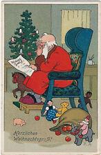 Weihnachten,Weihnachtsmann im Morgenmantel,liest Zeitung, Fritz Baumgarten sign