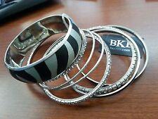 8 BKE Fashion Silver Tone & Zebra Bangle Set