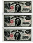 1917, $1 FR 39 Large Size Legal 3 consecutive notes Uncirculated